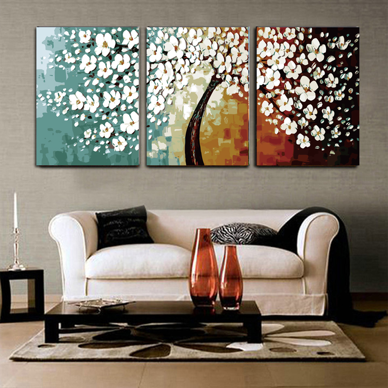 coloring by numbers flower pictures triptych paintings for living room wall 40X50X3 set home decor diy oil canvas painting R3025