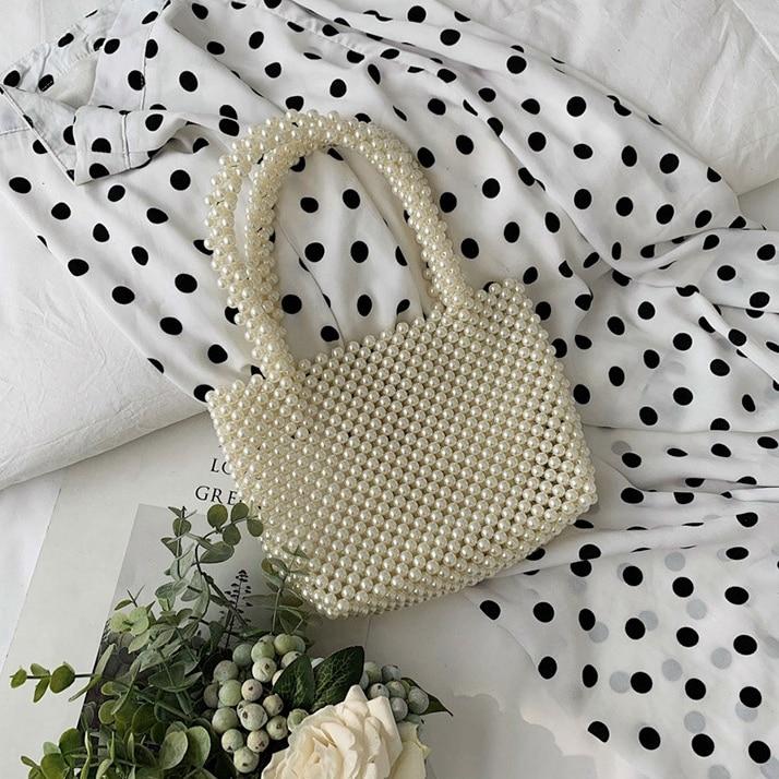 Nouveau-femmes Vintage Imitation perles sac à main printemps à la mode rétro Chic Top poignée sac femme petite taille perles classique élégant - 6