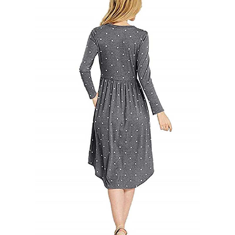 Nieuwe Vrouwen Vintage Jurk Gewaad Femme Casual Losse A-lijn Midi Jurk O-hals Zakken Polka Dot Jurk Geplooide Plus Size Party PL515G
