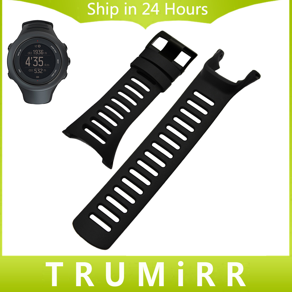 Silicone Rubber Watchband + Screwdriver for Suunto Ambit 1/2/2S/2R/3 Peak/Sport/Run Watch Band Black Steel Buckle Wrist Strap soft rubber watchband 26mm for executive 243 men replacement silicone watch band steel butterfly buckle wrist strap black blue