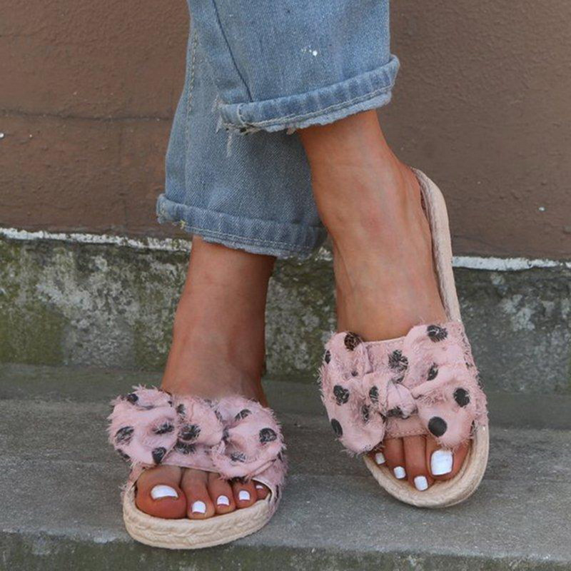 Summer Bow Women Slippers Flat Slides Sandals Weaving Flax Casual Shoes Ladies Open Toe Beach Flip Flops Outdoor Plus 43Summer Bow Women Slippers Flat Slides Sandals Weaving Flax Casual Shoes Ladies Open Toe Beach Flip Flops Outdoor Plus 43