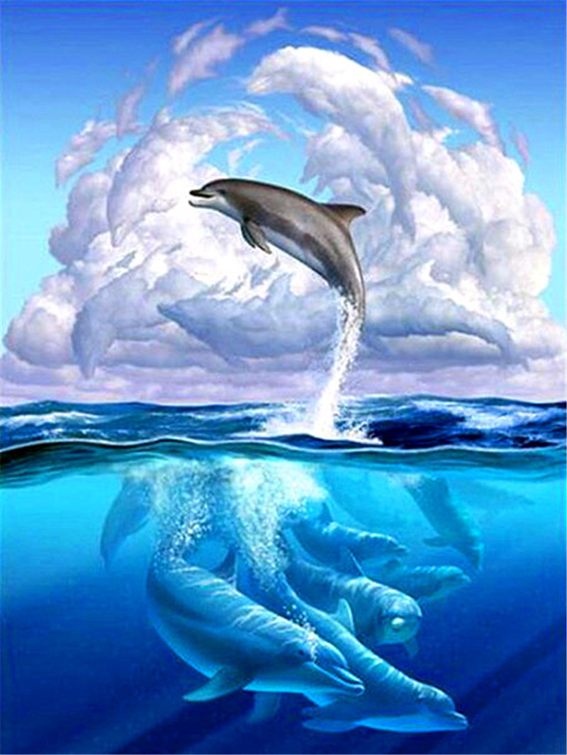 dolphins sea Needlework DIY 5d Diamond Painting Cross Stitch Square Diamond Embroidery Home Christmas Decoration new year gift