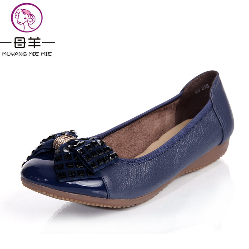 MUYANG Chinese Brand Plus Size(34-42) Spring Autumn Loafers Women's Flat Shoes Woman Genuine Leather Casual Shoes Women Flats