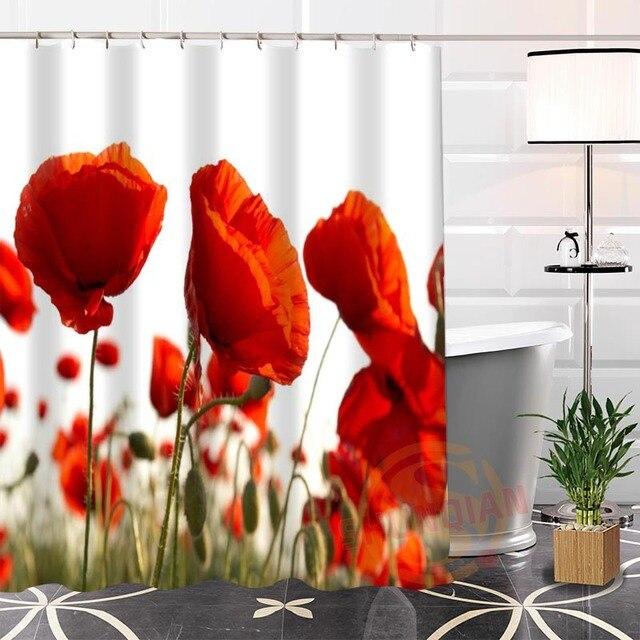 Best Nice Custom Flower Poppies Flowers Poppy Shower Curtain Bath Curtain  Waterproof Fabric Bathroom MORE SIZE