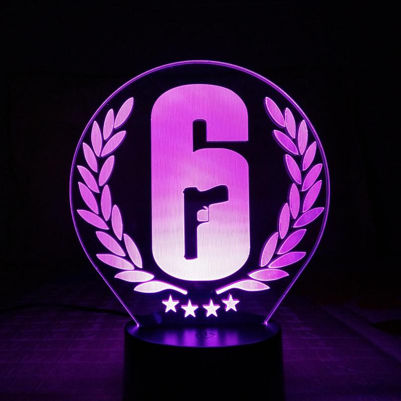 Rainbow Six Siege Table Lamp Touch Sensor 7 Color Changing Child Kids Gift FPS Game Night Light LED Rainbow 6 Logo Bedroom Decor