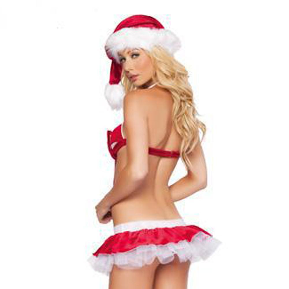 Ladies Sexy Santa Girl Christmas Costume Bikini Underwear Cosplay ...