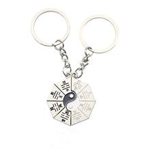 Fashion Personality Yin Yang Taiji Keychain China Gossip Couple BFF Best Friend Holder Christmas Jewelry Gift