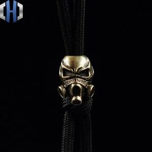 Image 1 - Paracord Beads Brass Skull Anti virus Mask Knife Beads Pure Copper EDC Pendant Beads DIY Flashlight Falls Rope Pendant Keychain