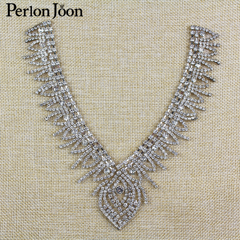 7.09 6.3 inch Iron On Rhinestone necklines for V neck Clothing Back Iron on  Bridal dress kerchief Accessories TJ 054-in Rhinestones from Home   Garden  on ... ffa055a221cc