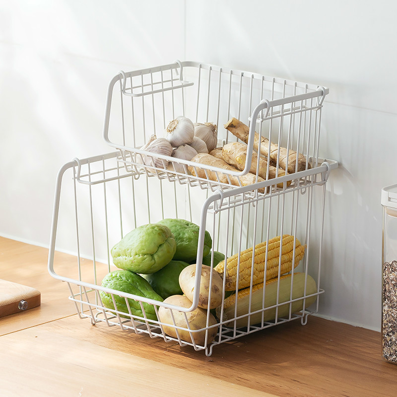 Kitchen storage basket wrought iron fruit vegetable Snack organizers finishing basket can be stacked rack Snack mx4161723