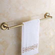 цена на Double Towel Bar Golden Finish Wall Mounted Towel Holder,Towel Rack,Bathroom Accessories KD768
