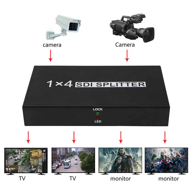 SDI Splitter 1X4 SDI Video Converter 4 Port Support SD/HD/3G SDI 1080P with Power Adapter for Projector Monitor DVR SDI System