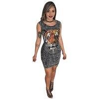 Puseky Women Casual Bandage Dress Ladies Bodycon Sleeveless Tiger Animal Print Club Short Hollow Out Mini