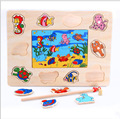 Children's educational Magnetic fishing marine animals World Puzzle combination of equipment child wooden toys Jigsaw Puzzle