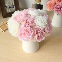 5 heads/ bunch Artificial Peony flowers Silk Flower bouquet DIY Bridal Home Wedding Party Birthday valentine