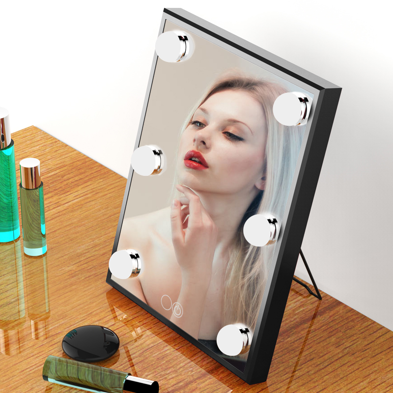 BEAUTMEI Free Shipping LED Touch Screen Makeup Mirror Portable Adjustable Brightness Lighted Vanity Mirror miroir de poche portable led touch screen makeup mirror