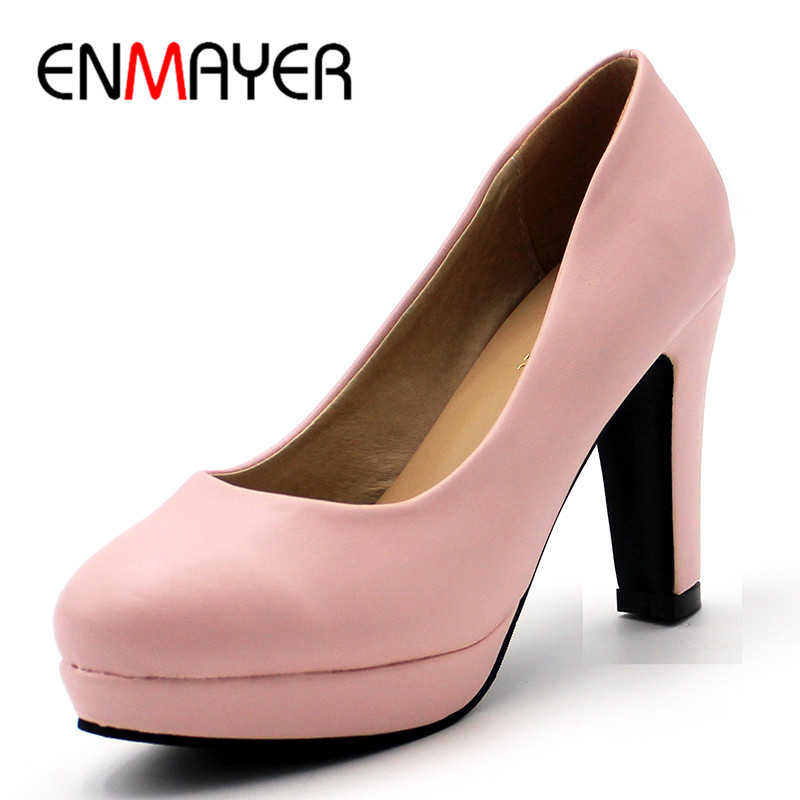 ENMAYER High Heels Shallow Spring&Autumn Pumps Shoes Woman High Heels Round Toe Black Pink Beige Shoe Plus Size 34-43 Slip-on slipony women 8cm high heels shoes pointed toe fashion female bow slip on lady two piece woman d orsay pumps pink beige black