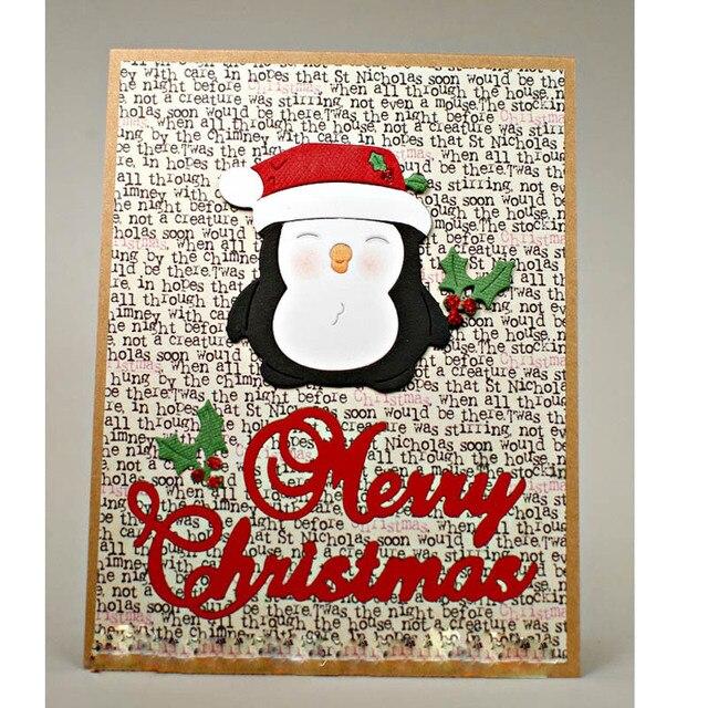 2018 Xmas Cute Christmas Penguin Metal Cutting Dies Stencils DIY ...