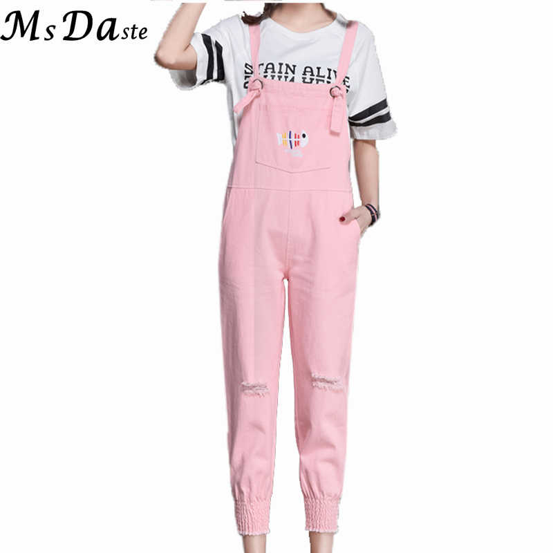 choose newest search for best official sale New Denim Jumpsuit for Womens Summer Autumn Female Jean Overall Denim  Romper Ankle-length Jeans Pants Ladies Jumpsuit Black/Pink