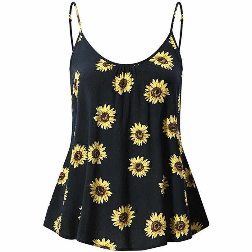 Female Tee Top Sexy T shirts Women s Vest Sleeveless Clothing Pullover  Summer Blouse Sunflower Print Spaghetti 4d49cce6b3dd