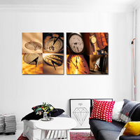 2 Piece Modern Wall Painting Vintage Clock Spray Canvas Painting Home Decorative Art Picture Paint on Canvas Printings WK544