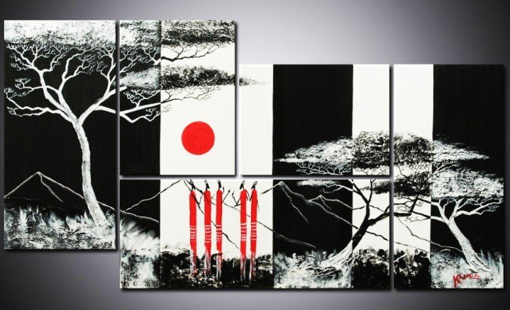 hand painted cheap wall frames african black white forest home decoration modern landscape oil painting