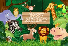 Laeacco Jungle Party Cartoon Forest Animals Baby Photography Backgrounds Customized Photographic Backdrops For Photo Studio
