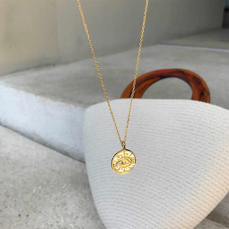 Gold Silber Farbe Münze Auge Anhänger Halsketten für Frauen Einfache Runde Kette Choker Boho Charms Initial Halsketten Schmuck
