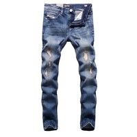 2017 Casual Stretch Slim Fit Blauw Patchwork Jeans Ripped Denim Jeans Mannen Broek Hot Koop Merk Kleding mannen Jeans Elastische E701