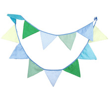 12 Flags 3.2m Blue Green Lattice Dot Cotton Fabric Bunting Pennant Flags Banner Garland Baby Shower/Outdoor DIY Home Decoration page flags green 50 flags dispenser 2 dispensers pack page 4