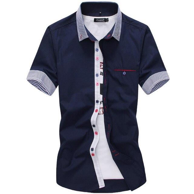 2019 New Brand Mens Dress Shirts Short Sleeve Casual Shirt Men Slim