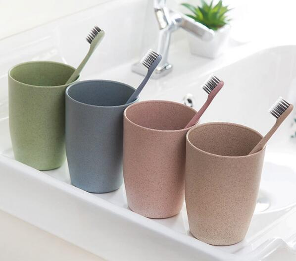 New Wheat Straw Fiber Toothbrush Holder Gargle Cup Rinsing Cups Wash Tooth Mug Bathroom Gargle Cup Children's Water Cup Hot Sale image