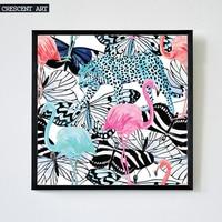 Pop Art Decorazione Della Parete Della Fauna Selvatica Poster Flamingo Immagine Tela Stampa Tropicale Leopardo Arte Farfalla Home Decor per Soggiorno