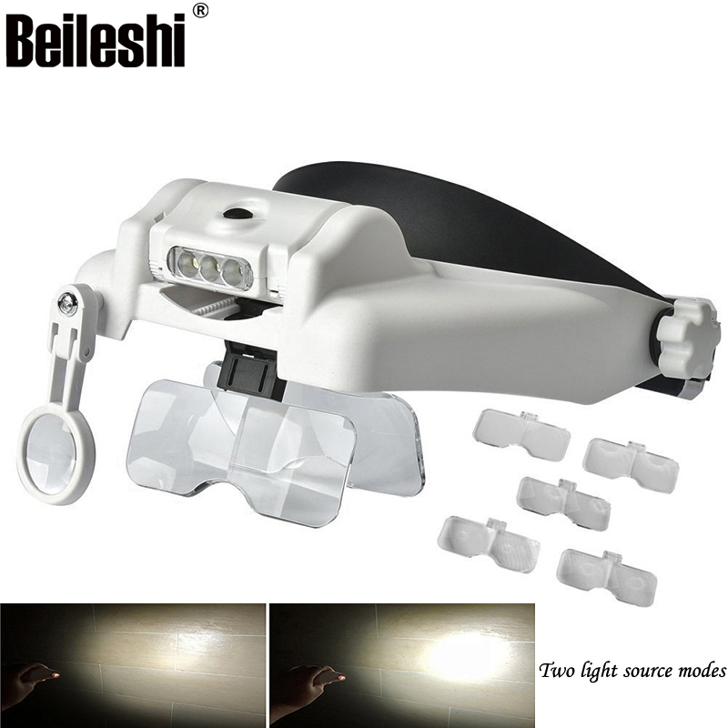 Magnifying Glasses Headband Magnifier Loupe 3LED 1.0X/1.5X/2.0X/2.5X/3.5X Magnifications Third hand Lupa 5Lens Interchangeable