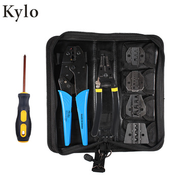 цена на Terminals insulated with electricity Crimper Cable Crimping Tool Kit Plier wire terminal Screwdriver with Carry Bag Set 5 Jaw
