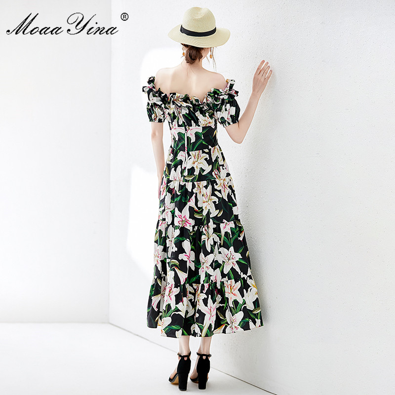 MoaaYina Fashion Designer Runway dress Spring Summer Women Dress lily Floral Print Elegant Cotton Dresses-in Dresses from Women's Clothing    3