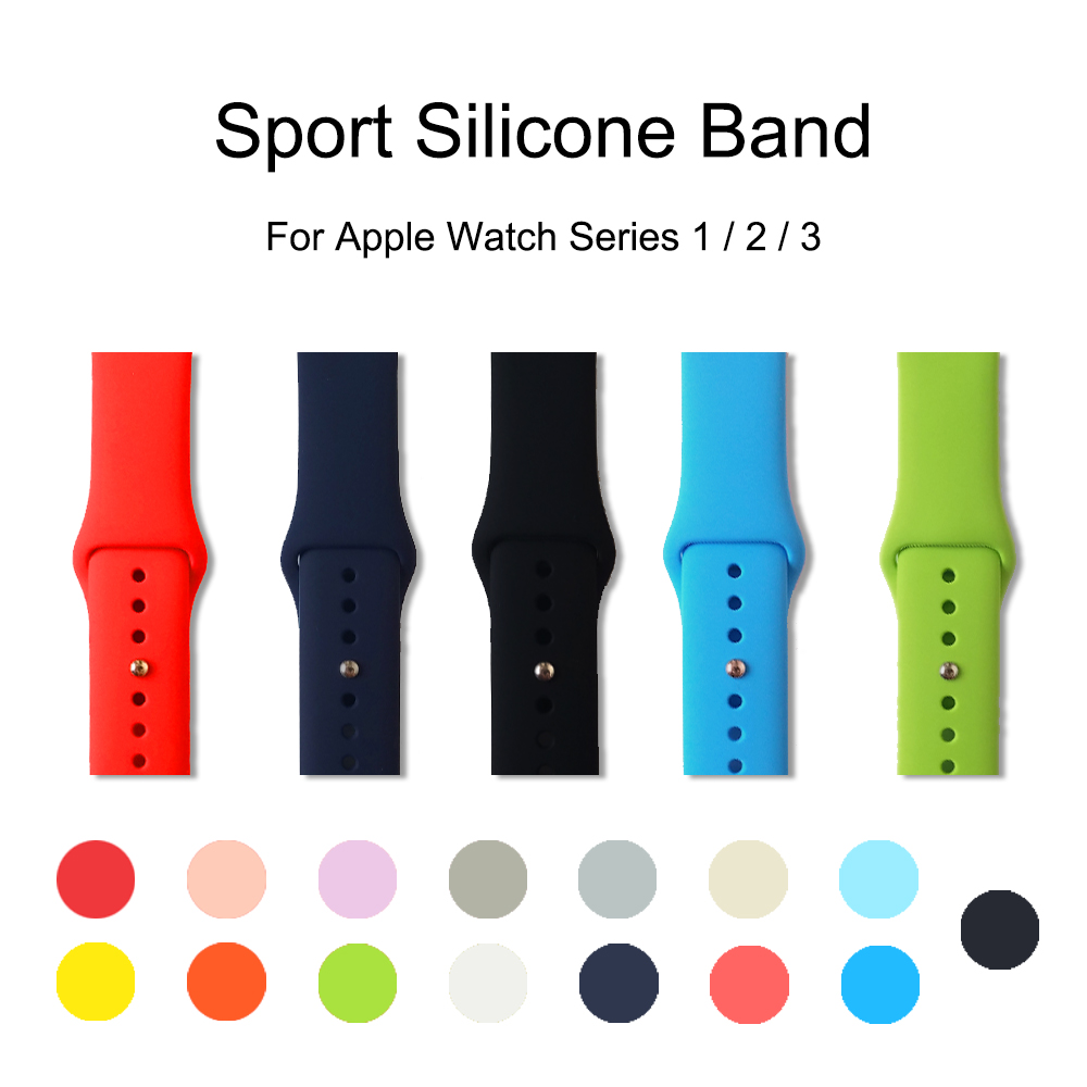 UEBN Band for apple watch 42mm 38mm Sport Silicone Watchband Replaceable Bracelet Strap for iWatch Series 1 / 2 / 3 Watchstrap 22 colors sport silicone band for apple watch band series 1 2 3 silicone strap bracelet for iwatch 38mm 42mm watchband