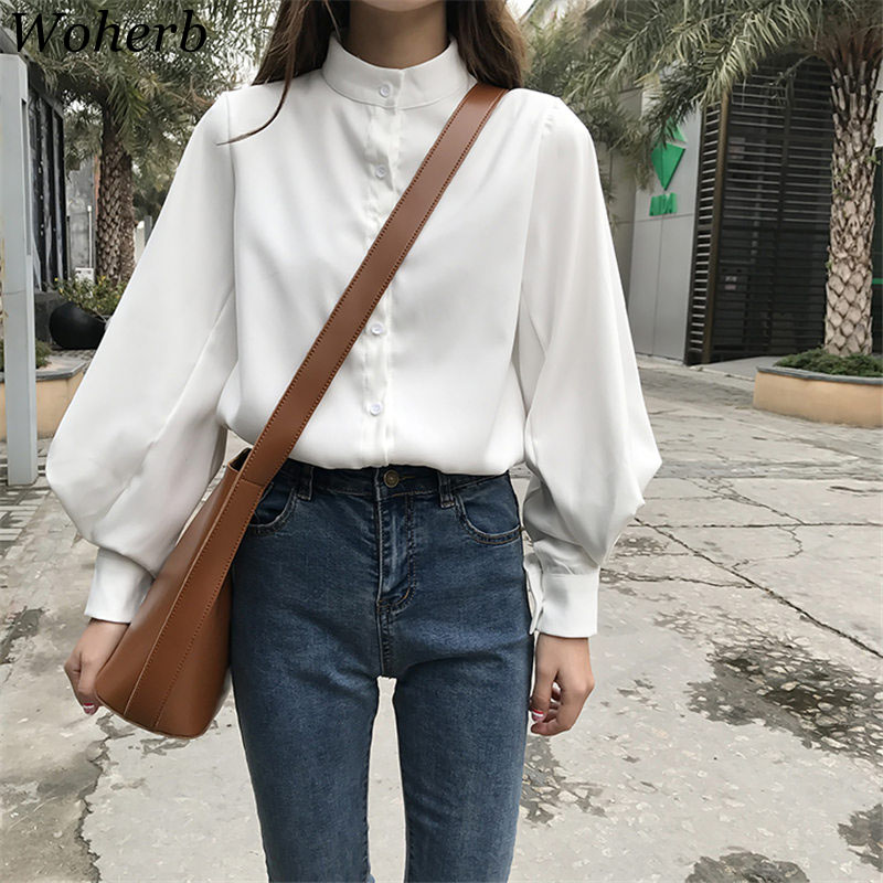 Woherb Womens Tops Blouses Vintage Long Sleeve Women Summer Shirts Korean White Blouse Tops Blusas Mujer De Moda 2019 20179 белая рубашка с объемными рукавами и вырезом