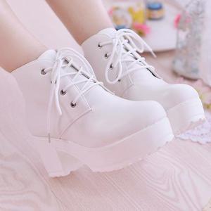 Image 2 - YEELOCA 2019 المرأة الأحذية واحدة جديدة أحذية الخيل كعب مربع جولة تو الربيع أحذية عالية الكعب الدانتيل متابعة حجم كبير 35 45