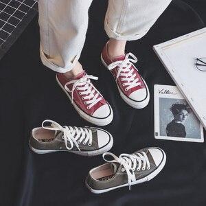 Image 5 - Femme chaussures baskets nouvelle mode femmes chaussures chaussures plates décontracté solide toile classique solide couleur bonbon femmes décontracté baskets