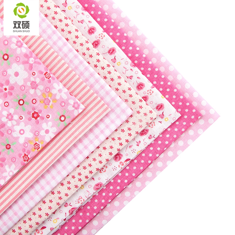 ShuanShuo 50x50cm Normal Quality 8 kind different Series Patchwork Cotton Fabric Fat Quarter Bundle For DIY Sewing Fabric in Fabric from Home Garden