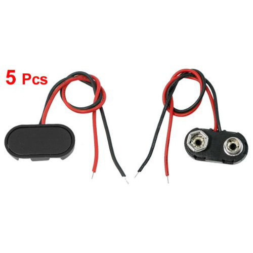 High Quality 5 Pcs I Type 9V 9 Volt Battery Clip Connectors Buckle Cable 1000 pcs 9v 9 volt snap on battery clip connector 10cm