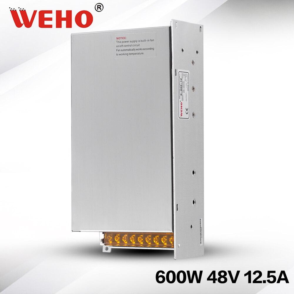 (S-600-48) 24 mounth garantie électronique pilote 110/220vac entrée DC 48 volts 600 w alimentation à découpage