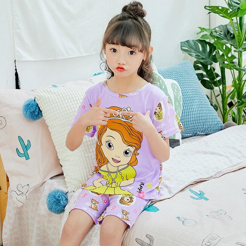 Childrens pajamas set girls summer short sleeve baby clothes large boy home wear kids johns Comfortable sleepwear 2 Piece 7-13t