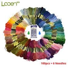 Looen 100pcs Embroidery Floss Various Skeins Rainbow Colors Thread Cross 6pcs Sewing Needles DIY Needle Arts Craft Tools
