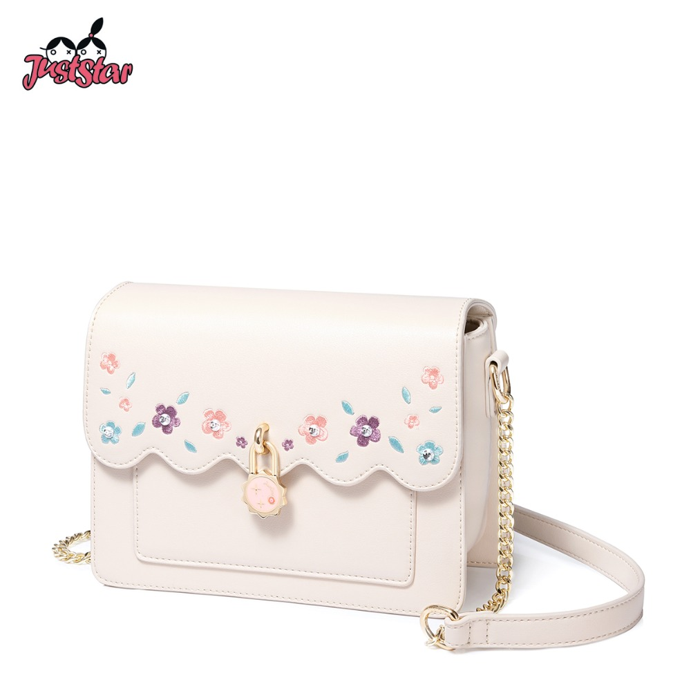 JUST STAR Women s Leather Messenger Bags Ladies Fashion Embroidery Flower Shoulder Purse Female Flap Yellow