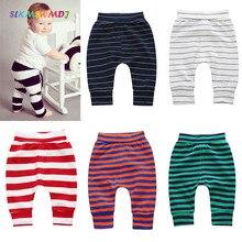 SLKMSWMDJ Spring Autumn Baby Pants Long Trousers Cotton Stripes Leggings Toddler Boy Harem Pant Girl Tights Clothing 0-2 Years