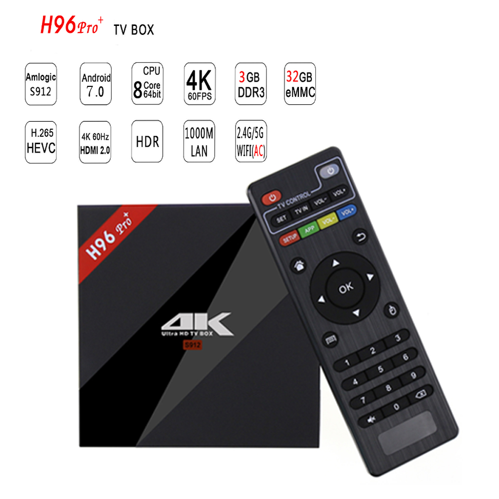 2018 H96 Pro Plus + Android 7.1 TV Box 3G/32G Amlogic S912 Octa Core 64Bit 2.4G/5G Wifi 4K BT4.1 HD Media Player Set Top Box