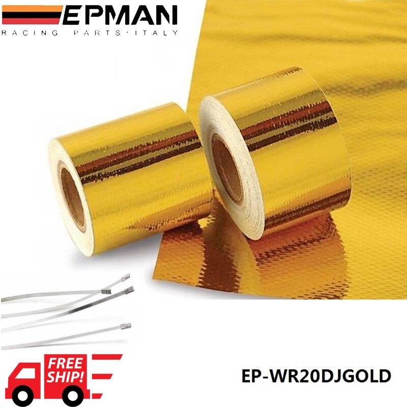 """Prix pour EPMAN 2 """"x 5 Mètre Reflètent-Une-Or Performances de Bande Chaleur Protection Bande/Barrière Nouvelle Arrivée meilleur EP-WR20DJGOLD"""