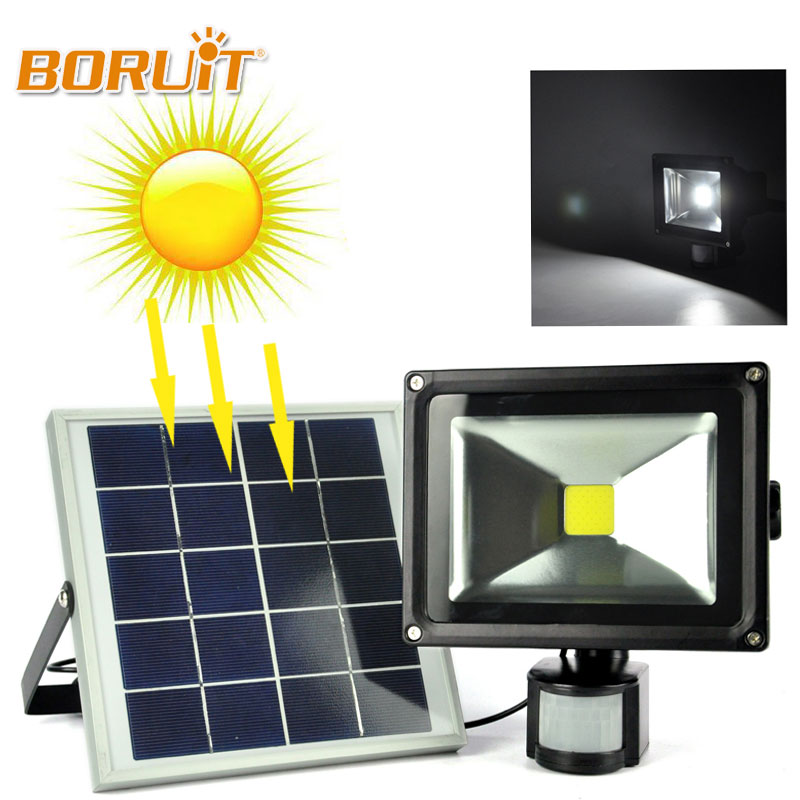 BORUIT 20W Solar LED Dark Sensor Solar Light Lamp Spotlight Wall Lamps Floodlight Outdoor Waterproof Path Emergency Flood Light